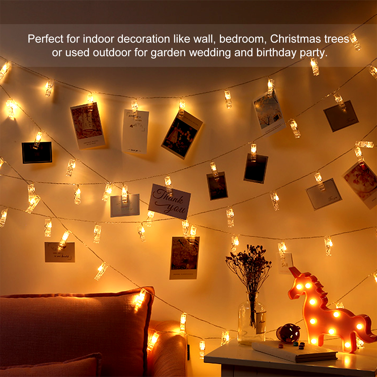 Us 3 75 35 Off 20leds Photo Clip Led String Lights Fairy Lights Outdoor Battery Operated Garland Christmas Decoration Party Wedding New Year On
