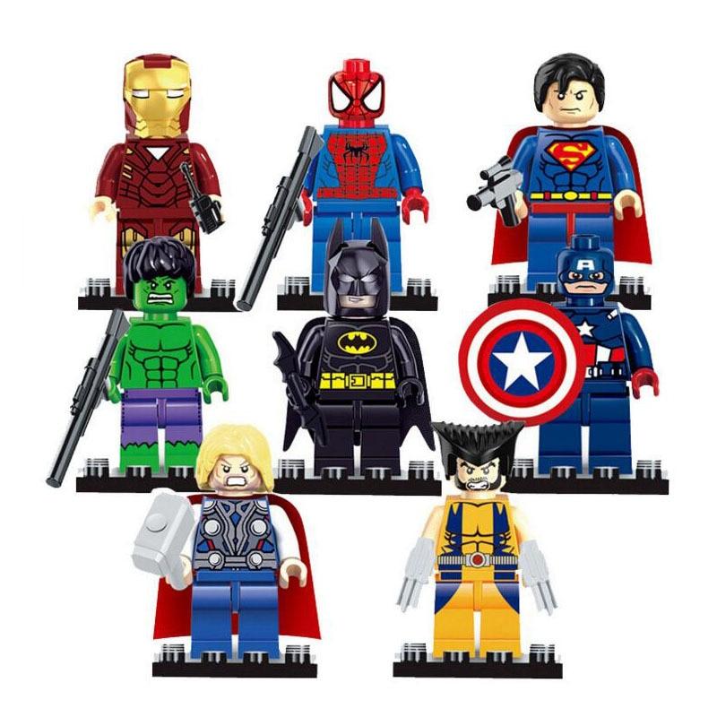 8pcs/lot Marvel The Avengers Thor Captain Ironman Wolverine Hulk Justice League Batman SuperMan Building Blocks Toys