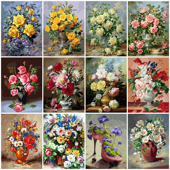 HUACAN DIY Pictures By Number Flower Paint By Numbers Flowers Hand Painted Painting Art Drawing On Canvas Gift Kits Home Decor