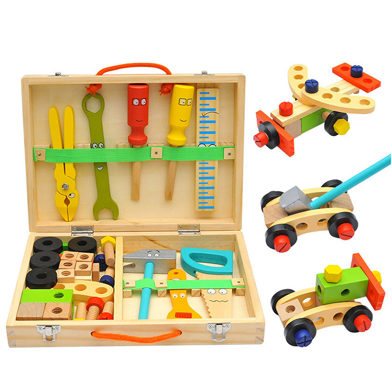 Kids Wooden Toolbox Pretend Play Set Educational Montessori Toys Nut Disassembly Screw Assembly Simulation Repair Carpenter Tool 4