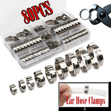 45/80pcs Single Ear Stepless Hose Clamps 5.8-23.5mm 304 Stainless Steel Hose Clamps Cinch Clamp Rings for Sealing Kinds of Hose