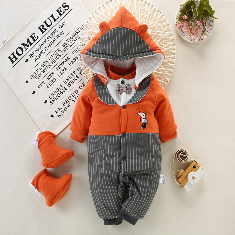 Baby Boys Winter Rompers New Toddler Boys Baby Fashion Cotton Thicken Oveall Jumpsuit For Infant Baby Kids Warm Hooded Rompers