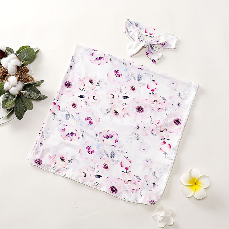 Cute Newborn Baby Soft Floral Printing Blankets Swaddling 0-1T  Infant Sleeping Bag And Headband Set