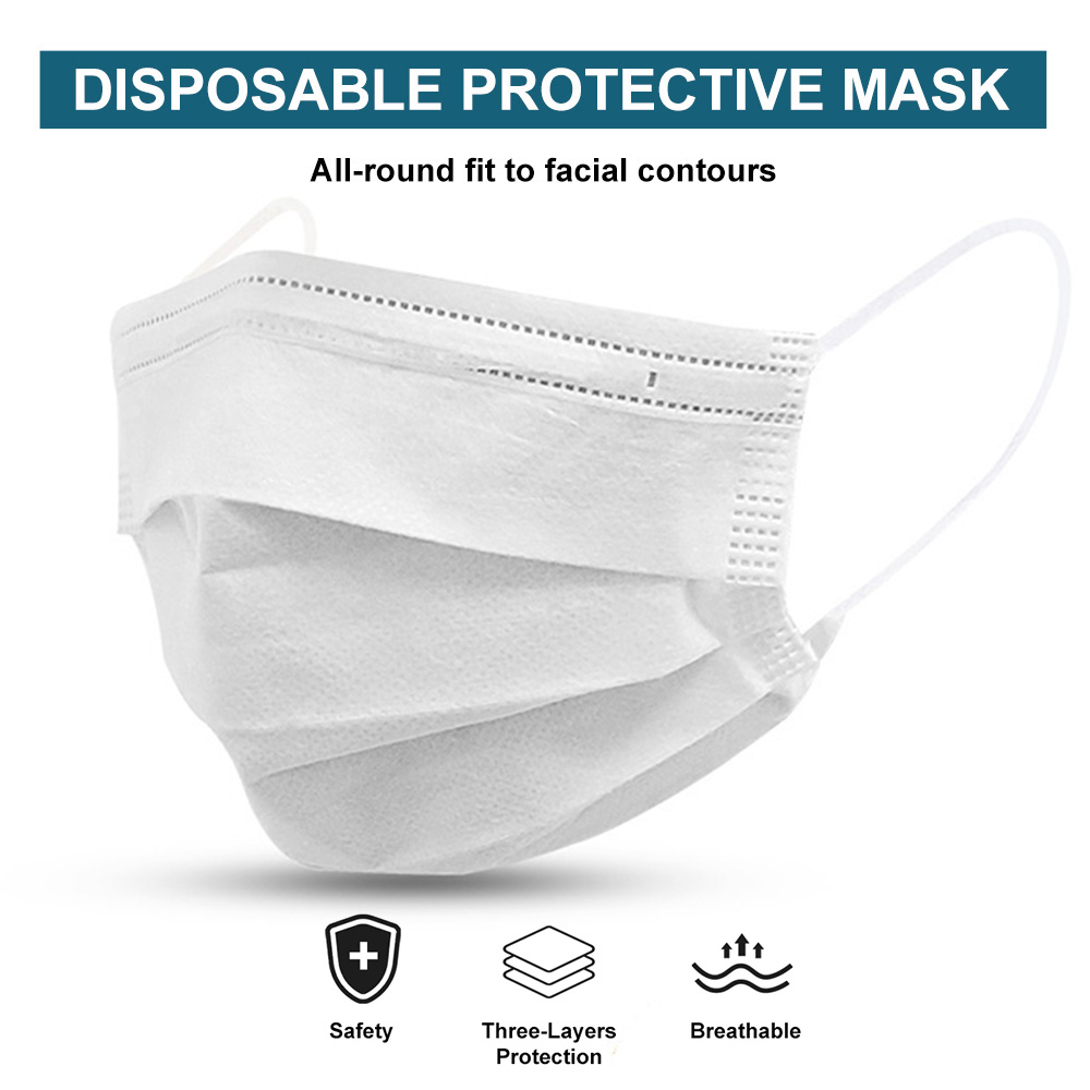 10-100 Pieces White Mask Disposable Nonwovens 3 Layer Filter Mask Mouth Face Mask  Safe Breathable Protective Masks Mascarillas