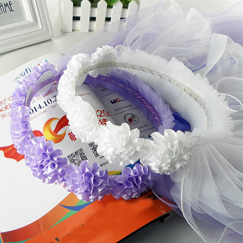 Niña de las flores velos dos capas blanco boda comunión corona de pelo niñas banda para el pelo princesa