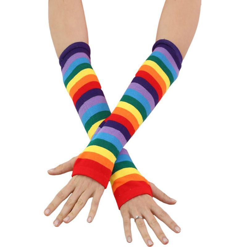 Women Women Girls Rainbow Striped Long Sleeve Sunscreen Arm Sleeve Fingerless Mittens Gloves Slim Thigh High Leg Warmer Cotton