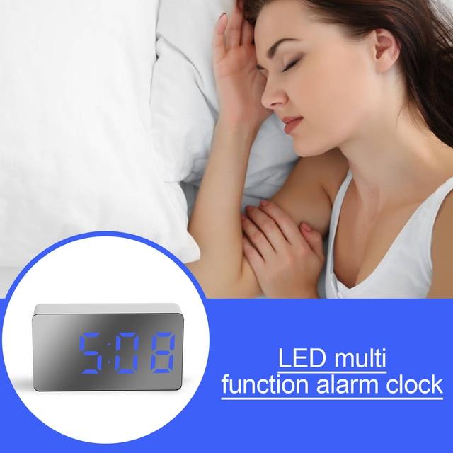 LED Mirror Digital Clock Alarm Clock Snooze Table Clock Wake Up Mute Calendar Dimmable Electronic Desktop Clocks Home Decoration 6