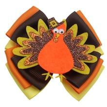 5 inch Thanksgiving hair bows Turkey bow Boutique flame Handmade Hair accessories clip