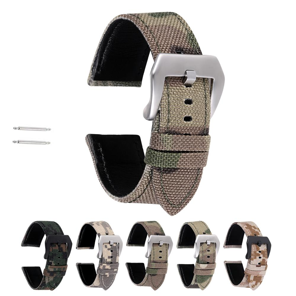 Leather Watchband 20mm 22mm Canvas Camouflage Watch Strap Band Military Watches Bracelet Pulseira For Men Watch Accessories