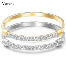 Fashion Gold Bracelet Bangles Femme Crystal Jewelry Stainless Steel Cuff Bangles For Women Charming Cz Bracelets Bangle