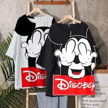 Disney 2021 T-shirt Frauen Cartoon Mickey Minnie Maus Frauen Kurze Sommer Regelmäßige t Hemd Oansatz Weiß Tops T Shirt Verlieren