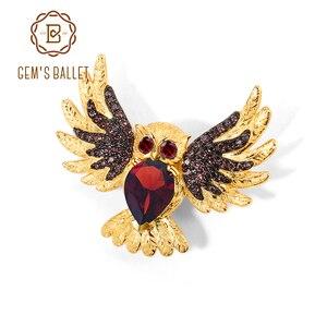 GEM'S balet pozłacane sowa broszki 925 srebro naturalny czerwony granat kamienie szlachetne zwierząt broszka i szpilki dla kobiet biżuteria