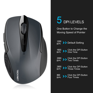 Image 3 - TeckNet Optical Wireless Mouse Computer Bluetooth Mouse 2600DPI 2.4G Wireless Bluetooth Mouse Ergonomic Mice for Laptop/Tablet