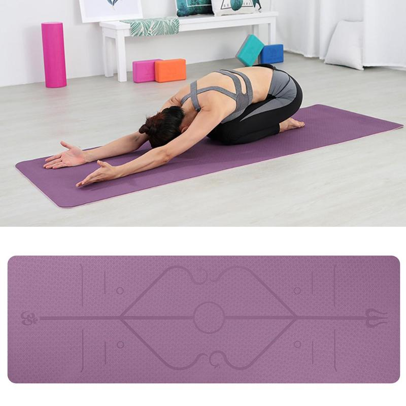 TPE Yoga Mat With Position Line Non Slip Carpet Mat Beginner Environmental Fitness Gymnastics Mats Gym Pads With Position Line