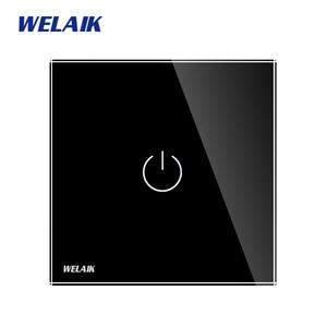 Image 5 - WELAIK ייצור האיחוד האירופי 1gang1way קיר מגע מתג קריסטל זכוכית פנל מתג קיר אינטליגנטי מתג אור חכם מתג A1911CW