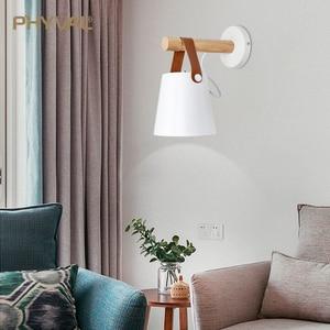 Image 3 - LED Wall Light Wood Wall Lamp Bed Bedside Light Night Lights Modern Nordic Lampshade Home Decor White & Black Belt E27 85 265V