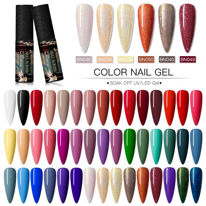 MEET ACROSS Matte UV Gel Nail Polish Set Pure Nail Color Matte Top Coat Kit Soak Off Nail Art Gel Varnish Lacquer Manicure