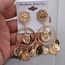 Exaggerated Baroque Metal Ring Coin Head  Ear Nails dangle earrings for women tassel bohemian