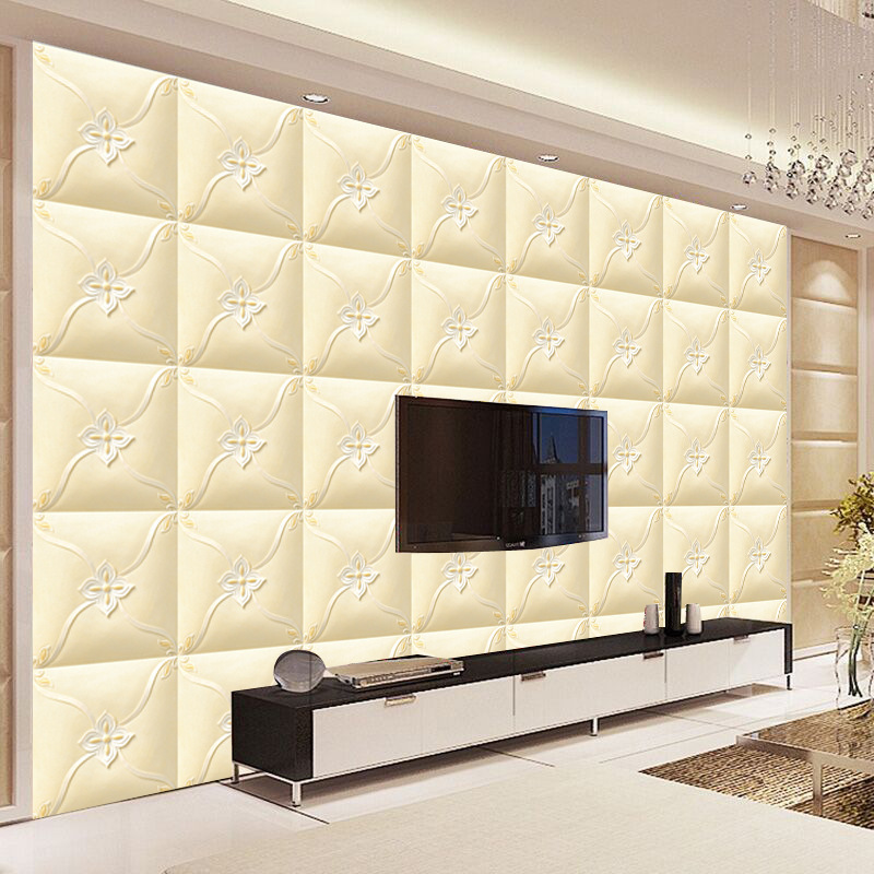 European Style Luxury Model Leather 3D TV Backdrop Wallpaper Simple Bedroom Living Room Soft Bag Wallpaper Thick Stereo