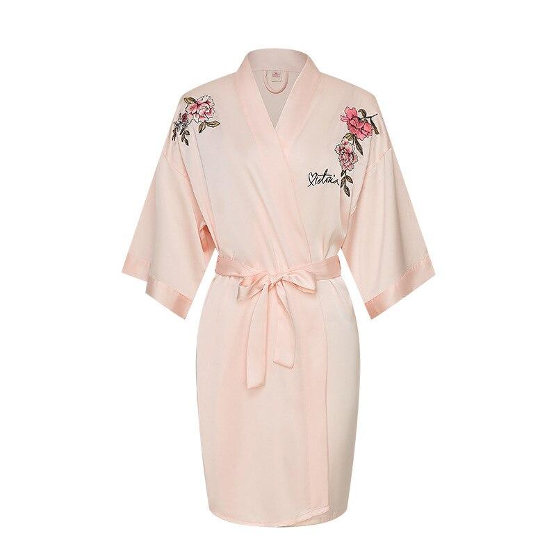 Pink Women Sleepwear Kimono Lingerie Robe Gown Wedding Robe Elegant Exquisite Embroidery Sleepwear Nightwear Casual Bathrobe