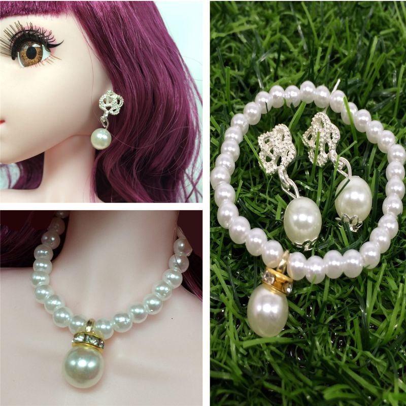 Doll Pearl Necklace Earring Doll Accessories For BIyth Babie