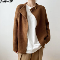 DIMANAF 2021 maglioni da donna cappotto Cardigan cappotto invernale manica lunga Lady top donna autunno lana lavorato a maglia Basic solido corea Tees