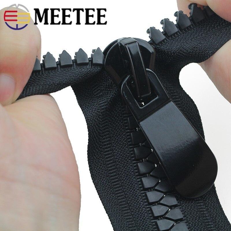 Meetee 15 #70 cm de resina zíperes slider duplo único extrator open-end bloqueio automático zip longo para jaqueta mochila ao ar livre acessórios