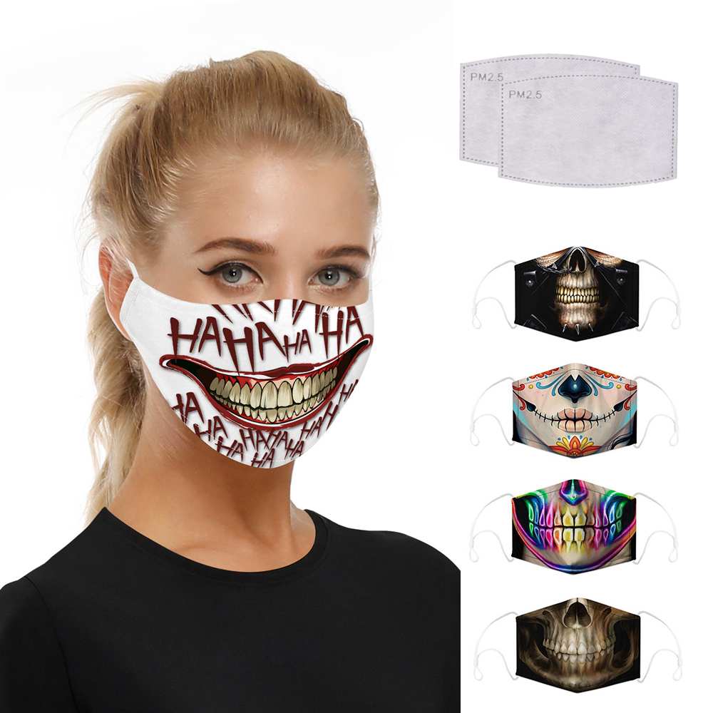 Washable Skull Smiley Printing Mouth Mask With Filter For Halloween Party Half Face Mask Dust Proof Bacteria Proof Flu Mask