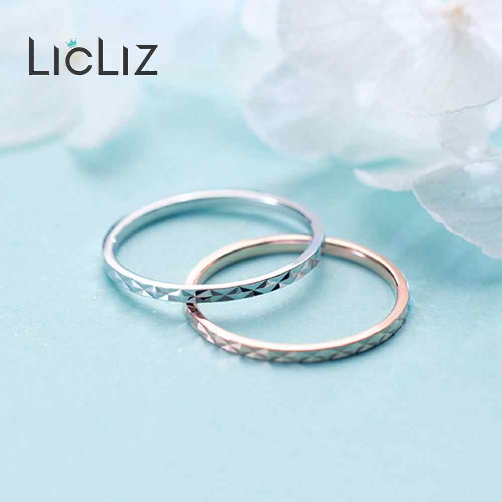 Licliz 2019 novo 925 prata esterlina simples onda redonda anéis geométricos para as mulheres branco rosa ouro jóias anillos bague lr0699