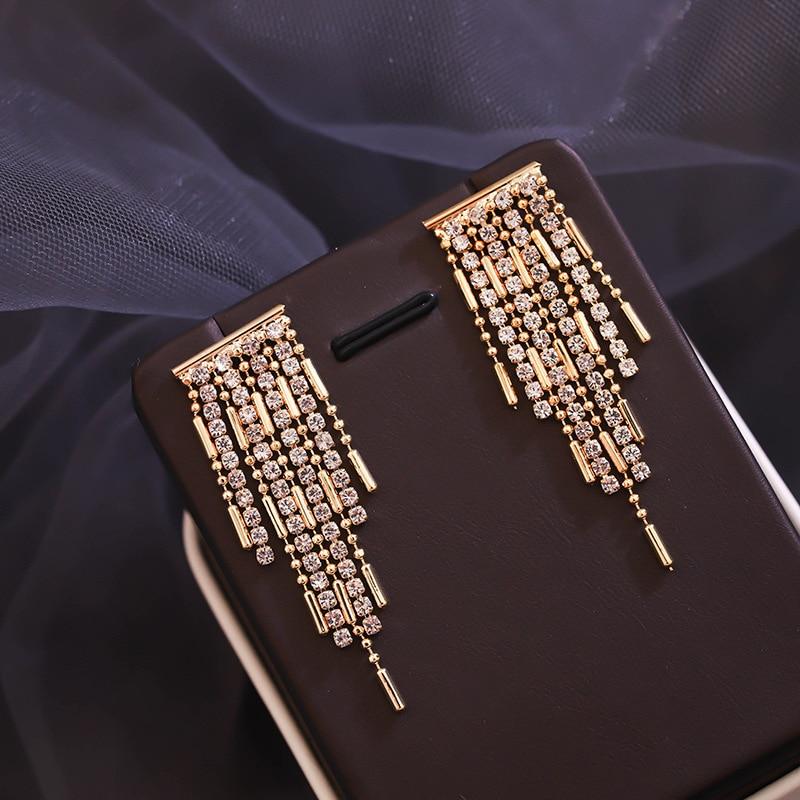 2020 New Classic Crystal Geometry Drop Earrings For Women Temperament Golden Tassels Long Metal Party Pendiente
