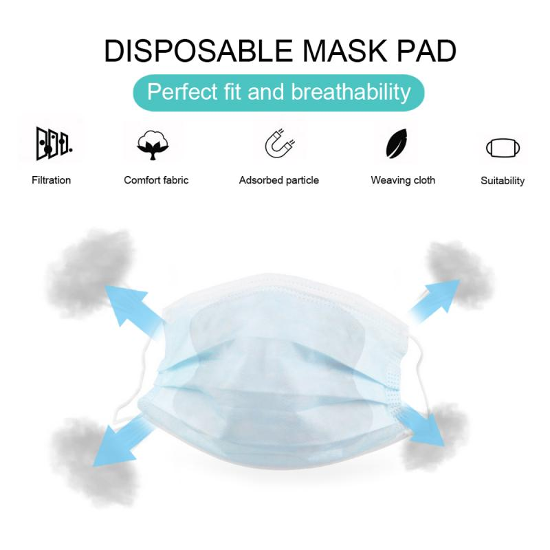 50 Pcs PM2.5 3Laye Ffp3 Filtration Mask Gasket Respirator Mask Filter Cotton Cartridge Skin Soft Non-woven Mask Filter Dropship