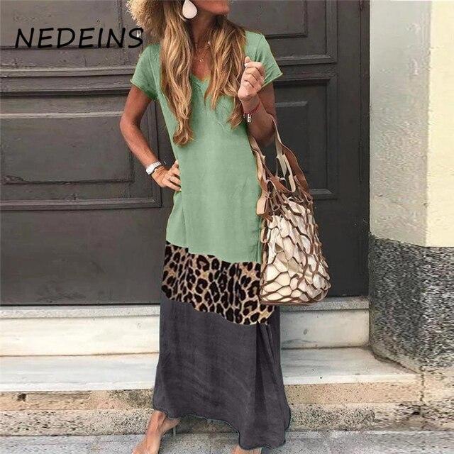 NEDEINS Summer Beach Print Long Dress Women Leopard Boho V-neck Short Sleeve Dress Plus Size Dresses for Woman 4xl 5xl 1