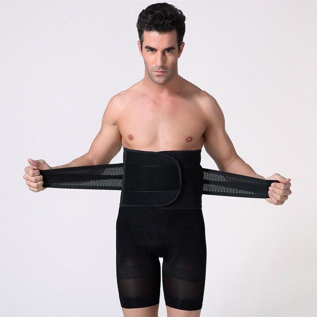 Men Compression Slimming Belts Body Shapers Belt Corset Fitness Girdle Waist Cincher Trimmer Abdomen Fat Burning Tummy Shapewear