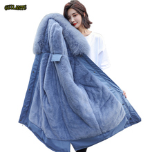 2019 Cotton Liner Warm Coat And Waterproof Jacket Women Plus Size Slim Long Coat Female Winter Big Fur Hooded Parka Mujer Coats cheap GUILANTU 1 1kg Office Lady Polyester Solid zipper winter jacket women Full Pockets Rivet Zippers Adjustable Waist Broadcloth