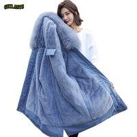 2019 coton doublure manteau chaud et imperméable veste femmes grande taille mince Long manteau femme hiver grande fourrure à capuche Parka Mujer manteaux