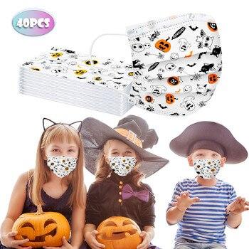 10/20/30/40pc Children Disposable Face Mask Student Kids Masker 2020 Fashion Funny Halloween Pumpkin Print Mouth Mask Mondmasker 1