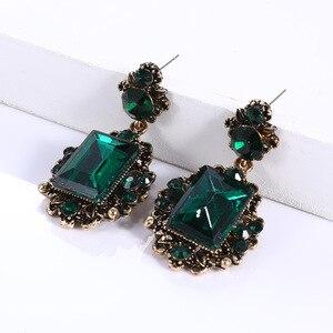 Retro Antiqued Bronze Deep Green Chunky Stone Pendant Dark Blue Big Drop Earring for Women Girls Vintage Jewelry