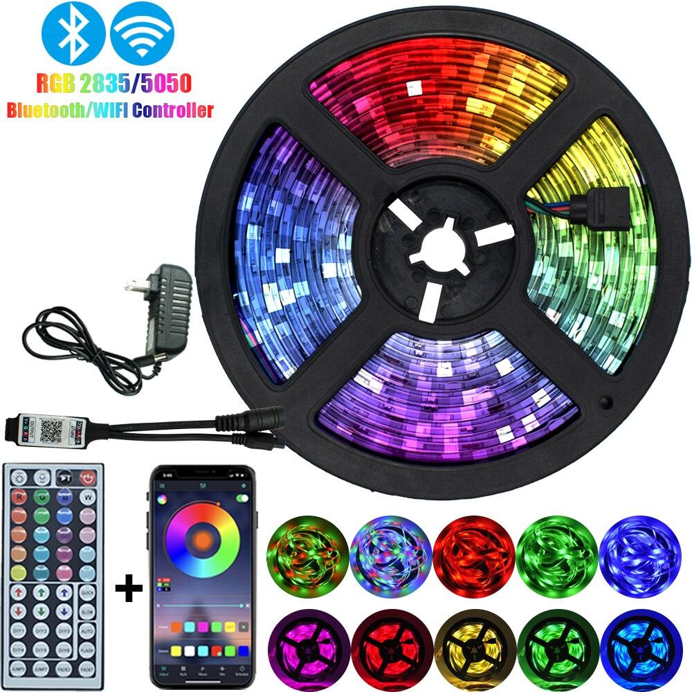 Праздничный Рождественский светодиодный фонарь с полосками Bluetooth RGB 5050 2835 водонепроницаемая гибкая лента с диодной лентой DC 12V 5M 10M 32,8 ft|Светодиодные ленты|   | АлиЭкспресс