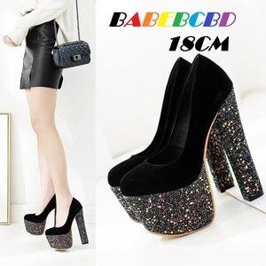 heels thick heel 18 cm women's