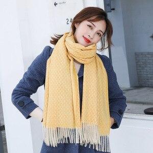 Image 5 - Bufanda de lana de Cachemira tejida, bufanda larga con calentador de Tessel, bufanda de moda para invierno, regalo de lujo para mujeres