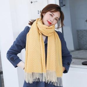 Image 5 - Stricken Kaschmir Pashmina Schal Langen Schal Mit Tessel Wärmer Winter Mode Schal Luxus Geschenk Für Frauen Damen