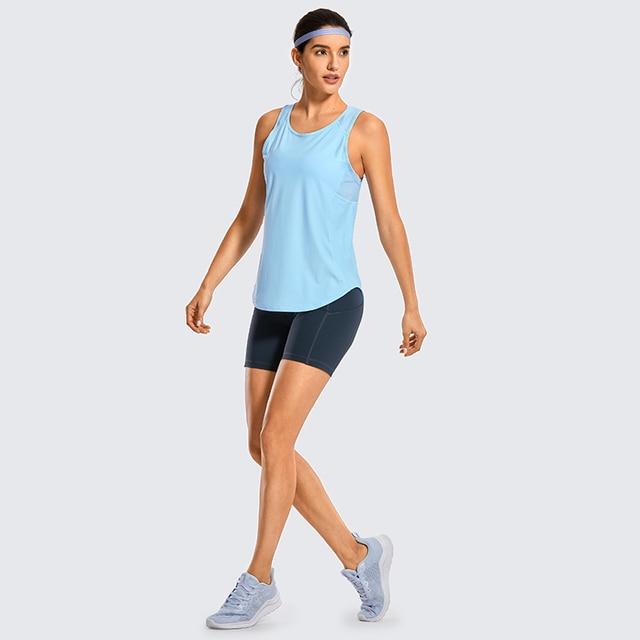 SYROKAN Women's Activewear Lightweight Mesh Workout Tank Top Running Sport Shirt 2