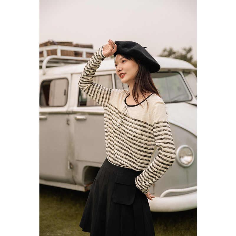 INMAN 2020 sonbahar yeni Vintage kadınlar baskı Retro kontrast renk şerit uzun kollu pamuklu taban üst yuvarlak yaka kadın T-shirt