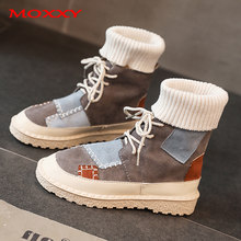 2019 New Retro Fall Winter Boots Women Shoes Plus Size 43 Gray Ankle Flat Boots Lace Up Sock Martin Boots Design Casual Sneakers(China)