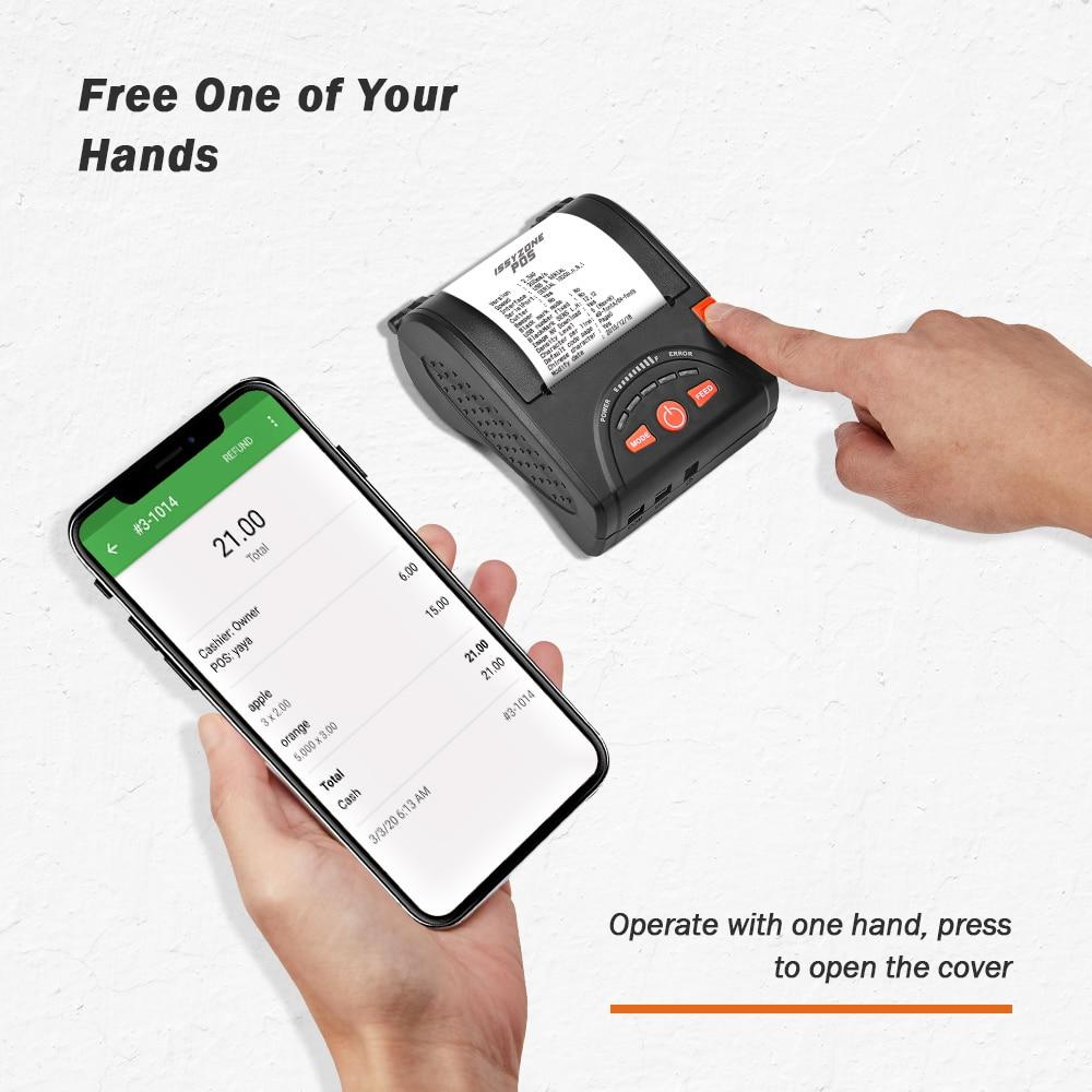 Issyzone Bluetooth Drucker Barcode Thermische Empfang Mini 58mm Drucker Für Android iOS Mobile Print Logo Supermarkt Schmuck Milch