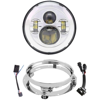 7 Inch LED Headlight with Mounting Bracket Motorcycle Headlamp Kit for Touring Street Glide Road King Ultra Classic Electra Glid