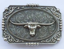 New Vintage Ancient silver Bull Western Cowboy Belt Buckle