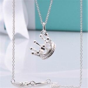 Image 3 - S925 colar de prata esterlina, pingente estilo coroa aristocrática. Presentes da jóia das senhoras do vintage da forma livre