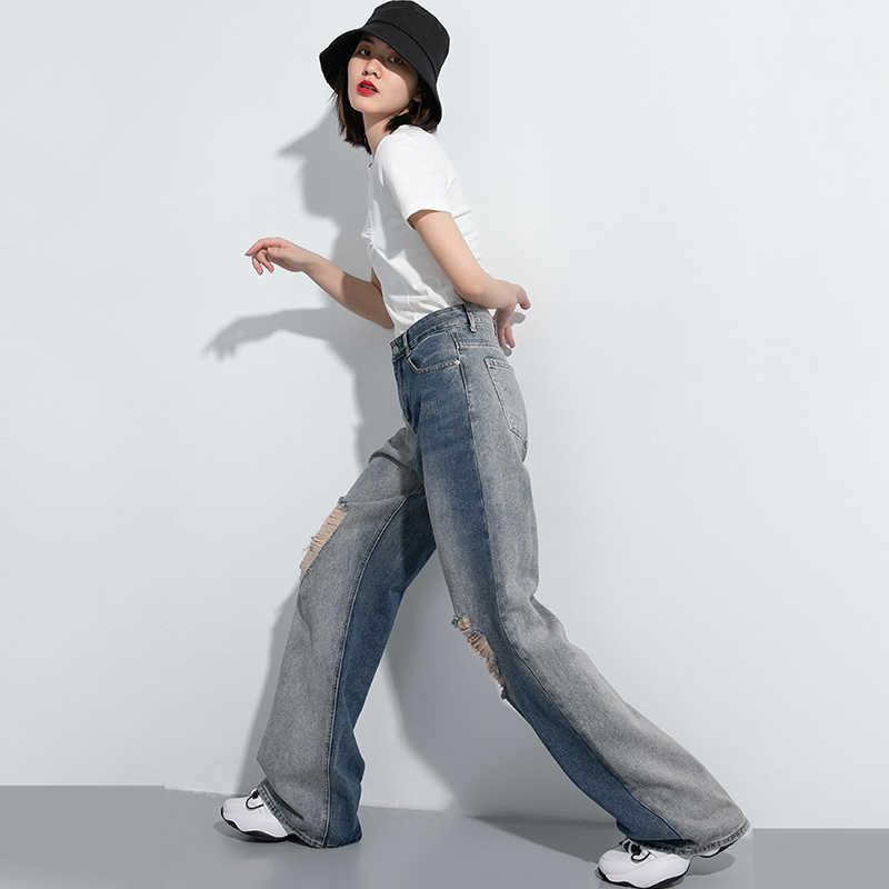 Женские джинсы с дырками EAM, Длинные свободные джинсы с высокой талией, весна-осень 2020, 1U041