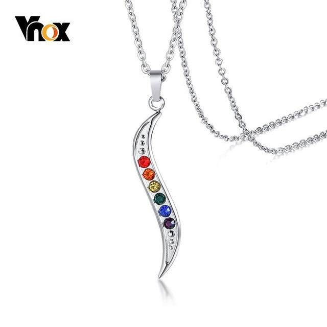 Vnox Slim Wave Rainbow Stones Pendant for Men Women Stainless Steel CZ Stone Jewelry Casual Unisex Jewelry